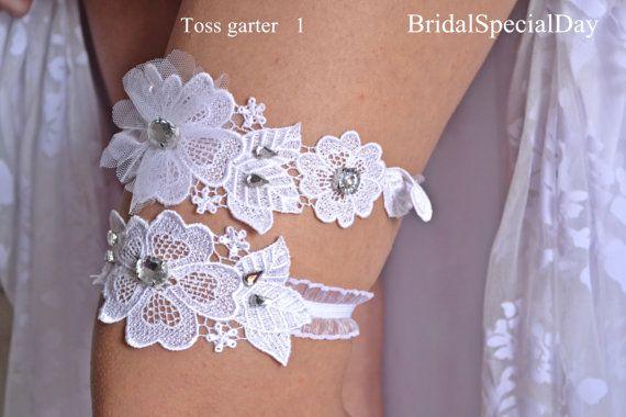 Wedding Garter Set White Bridal Garter With Tulle Flower and Strass - Handmade Wedding Garter on Etsy, $40.17