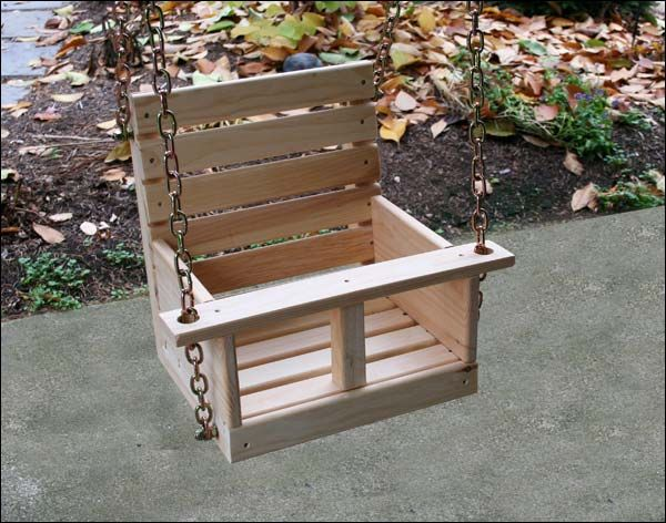 """A reader sent in a request for a plan with this directive: """"A pattern for a children's wooden swing. It needs to have some sort of bar across the front and a middle strap for safety."""" (Thanks for the request Cindy V.) Without a picture of the item, it is a bit difficult to know …"""