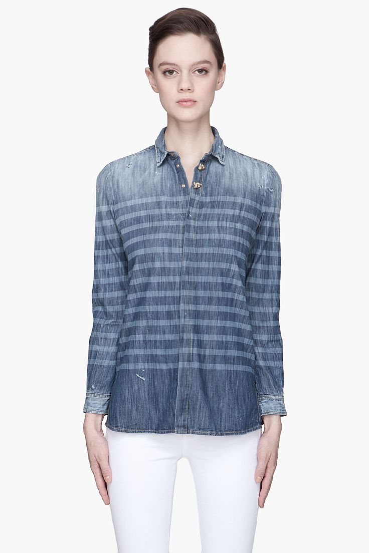 DSQUARED2 Indigo striped Sailorette Denim shirt