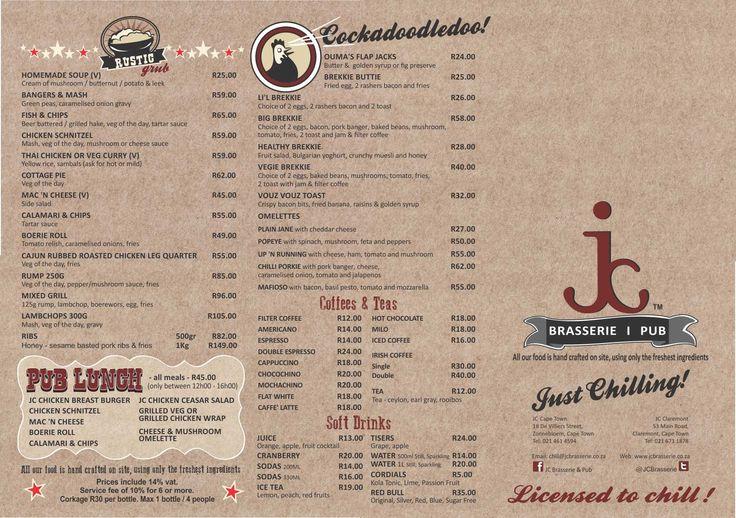 JC Brasserie. Diner Menu Design.