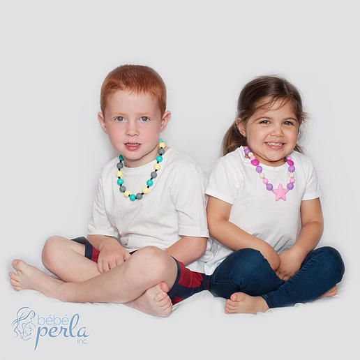 Bébé Perla makes fun necklaces for your kids to wear and chew on safely.  With a breakaway clasp and knots between each bead, they are safe for boys and girls ages 3+. * 100% Food-Grade Silicone beads  BPA, phthalates, cadmium, lead, metals free * All pendants feature a safety breakaway clasp to avoid strangulation. WARNING: Children with fully developed teeth or excessive biting may be able to tear beads. www.bebeperla.com