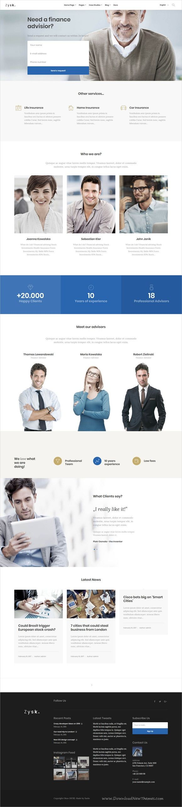 Zysk is smooth and stylish 7in1 responsive #WordPress theme for #insurance #advisor, business, finance and consulting services professional website download now..