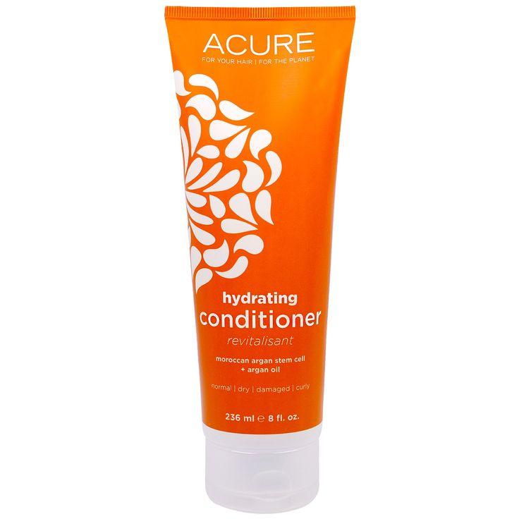 Acure Organics, Восстанавливающий кондиционер, стволовые клетки марокканского аргана + аргановое масло, 235 мл - iHerb.com