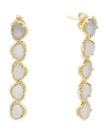 Made+In+India+14k+Gold+Plate+White+Moonstone+Linear+Earrings