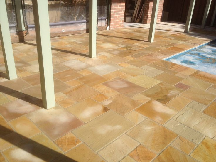 Amazing HImalayan Sandstone tiling in French Pattern.
