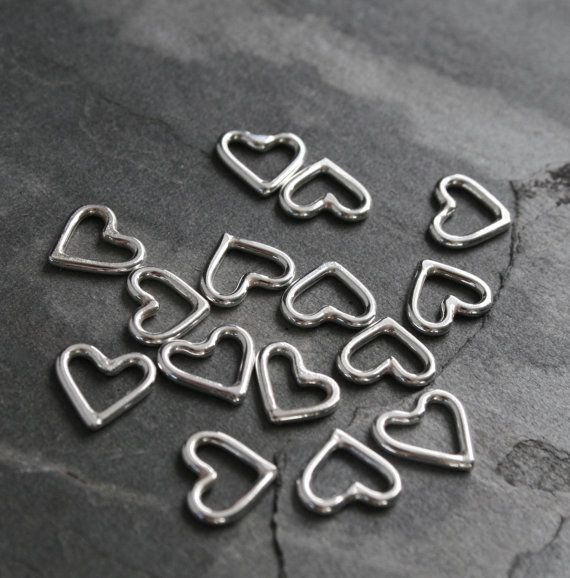 Little Sterling Silver Hearts Handmade Charms Open Heart