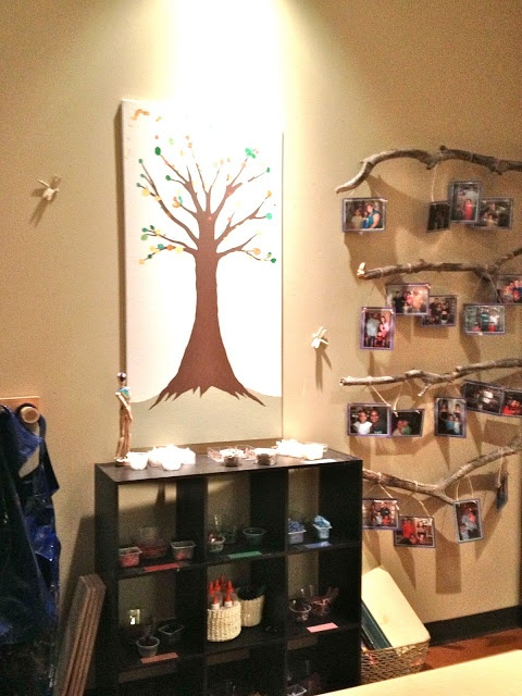Family Involvement: tree with fingerprint leaves from each family member; branches hung with family photos.