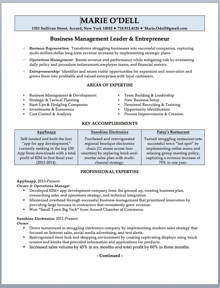 Business Owner Resume Sample & Writing Guide Guided