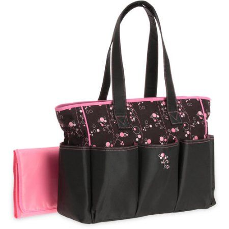 Graco Priscilla Collection 6 Pocket Top Handle Tote Diaper Bag Black w/Pink