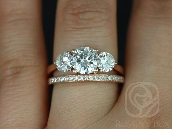 Tina 7mm & Hollie 14kt Rose Gold Round FB Moissanite and Diamonds 3 Stone Wedding Set (Other metals and stone options available)