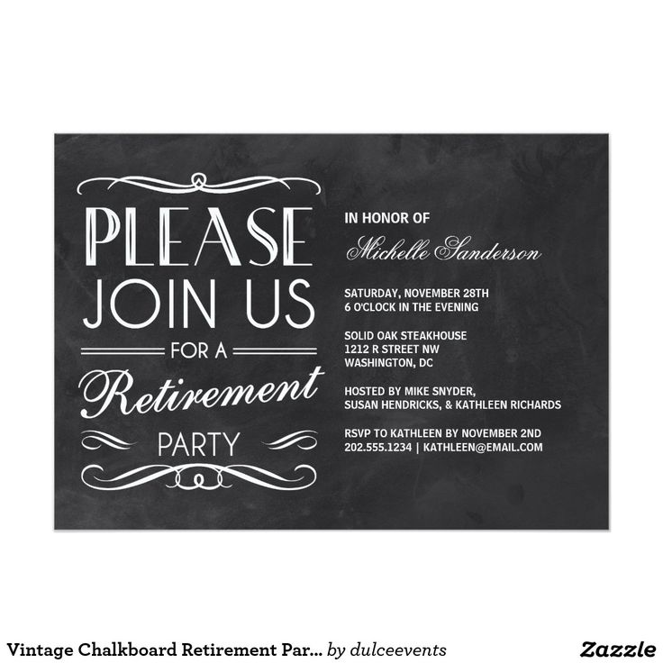 Invitation Card Template Video: Vintage Chalkboard Retirement Party Card