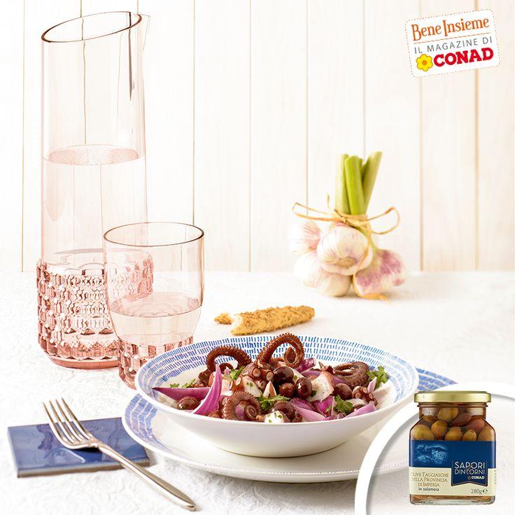 Restiamo leggeri: per sapere come preparare una semplice e gustosa #insalata di #polpo con #cipolle rosse e #olive taggiasche, clicca sull'immagine di Conad Bene Insieme!