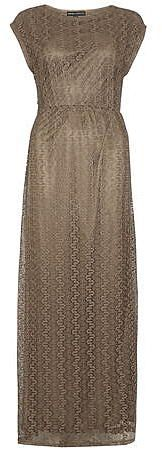 Womens khaki brown bronze lace maxi dress. from Dorothy Perkins - £28 at ClothingByColour.com