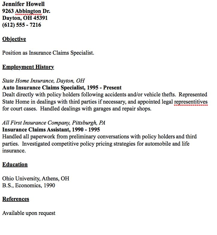 Example of insurance claims specialist resume