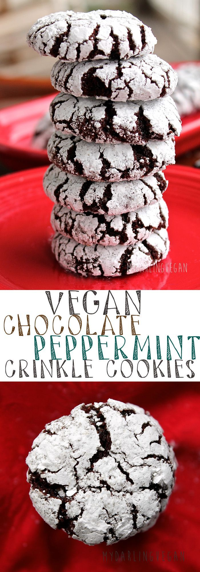 Nothing says Christmas quite like these Chocolate Peppermint Crinkle Cookies. Impress all your friends with these incredible vegan cookies. Click the link for the full recipe.