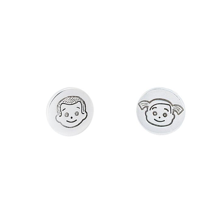 Round personalised earring silver 925 Otto and Otta by ottoandotta on Etsy