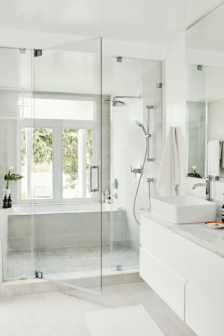 bathroom inspiration // glass shower doors and oversized grey tiles