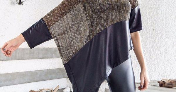 Lentejuelas blusa Top asimétrico con detalles de cuero negro / cuero suelto de noche Top blusa de lentejuelas / asimétrica más tamaño blusa / #35157 | Sequins,…