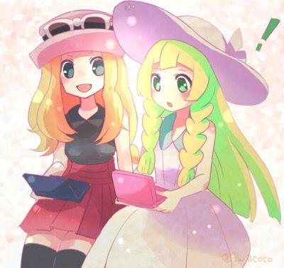 Pokémon Sun and Moon Games Alola fanart source: @tumblcoco on tumblr // Serena and Lilly