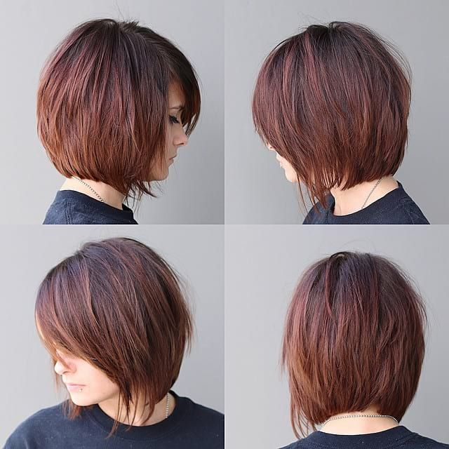 Warm Brunette Shaggy Bob With Fringe And Side Swept Bangs The Latest Hairstyles For Men And Women 2020 Hairstyleology Shaggy Bob Haircut Short Hair With Bangs Bob Haircut With Bangs
