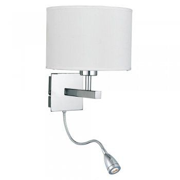 3550CC Modern Wall Reading Light in Chrome with Shade at Arrow Electrical