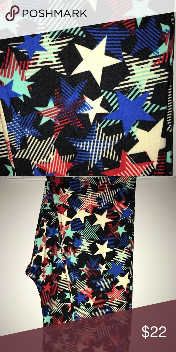 LuLaRoe Americana star TC leggings NWOT Never been worn leggings. Black background with ivory, blue, red, and mint stars. Americana collection but could be worn year round. Tall and curvy. LuLaRoe Pants Leggings