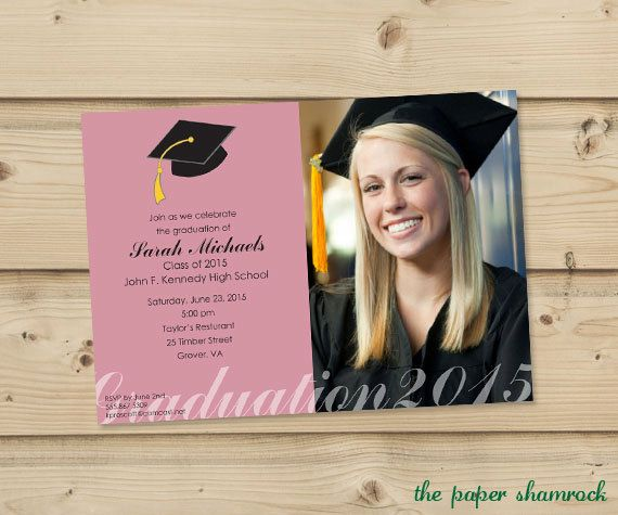 Photo Graduation Invitation, High School Graduation Invitation, College Graduation Invitation, Graduation Party Invitation, 2016