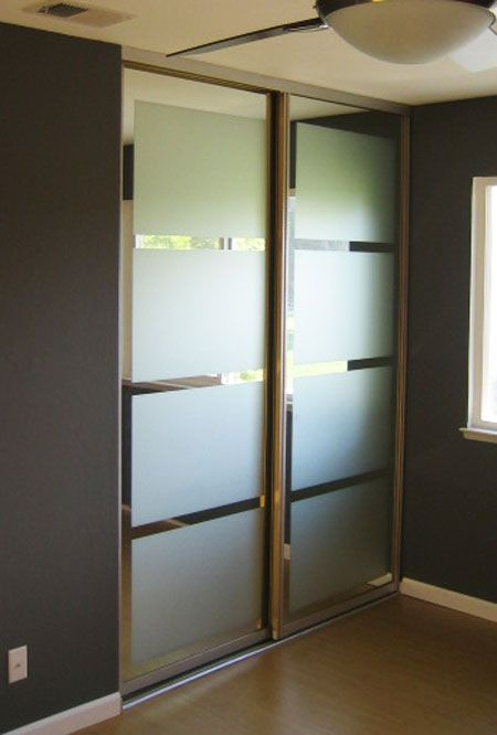 Closet Door Ideas Add Geometric Frosted Shapes To Ordinary Glass Doors For A
