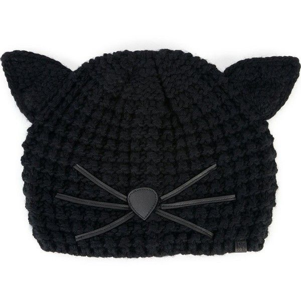 Karl Lagerfeld Choupette Knitted Beanie Hat ($70) ❤ liked on Polyvore featuring accessories, hats, black, karl lagerfeld, beanie caps, beanie cap hat and beanie hat