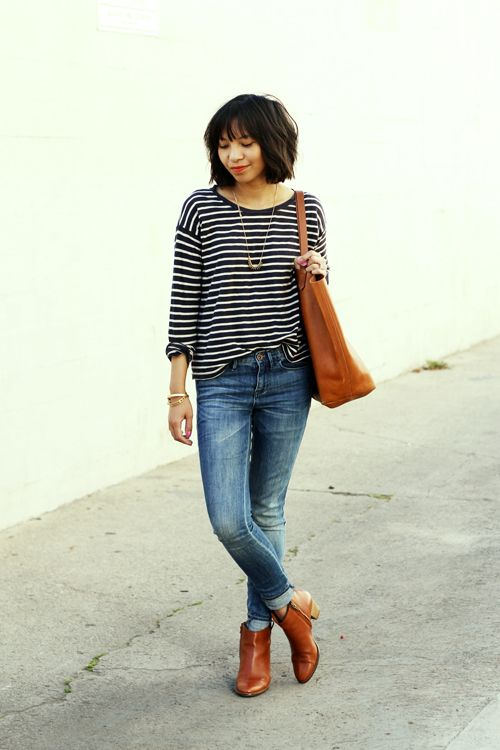A striped tee and jeans