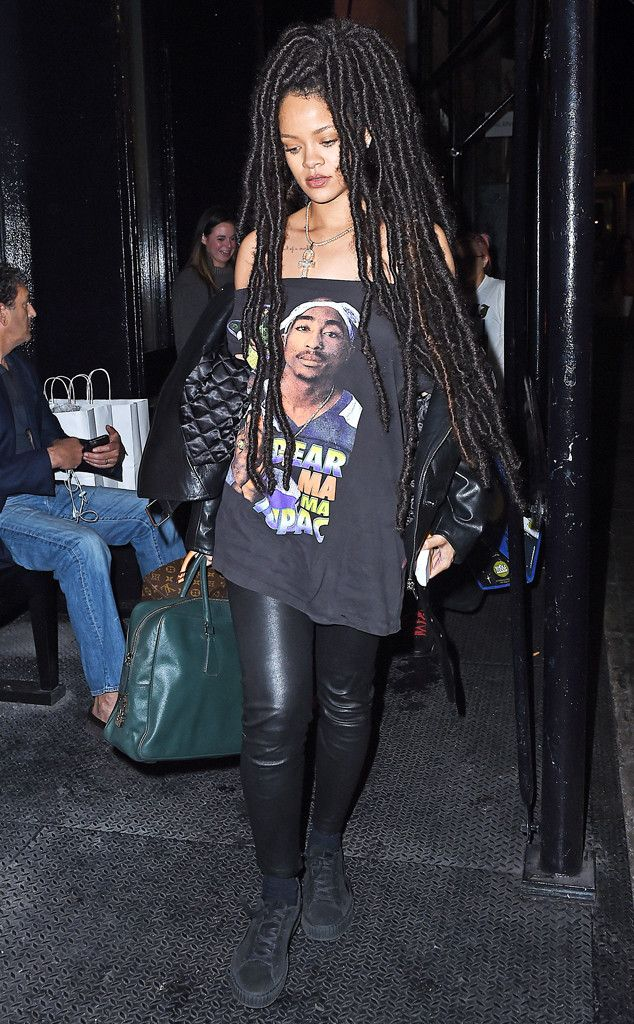 Rihanna from The Big Picture: Today's Hot Pics The singer is spotted rocking long dreadlocks and a Tupac t-shirt while stepping out for dinner in New York City.