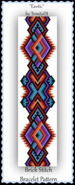 BP-BR-161 - 2016 - 081 - Exotic - Brick Stitch Beadwork Pattern, brick pattern, beadweaving tutorial, beaded bracelet, bracelet pattern