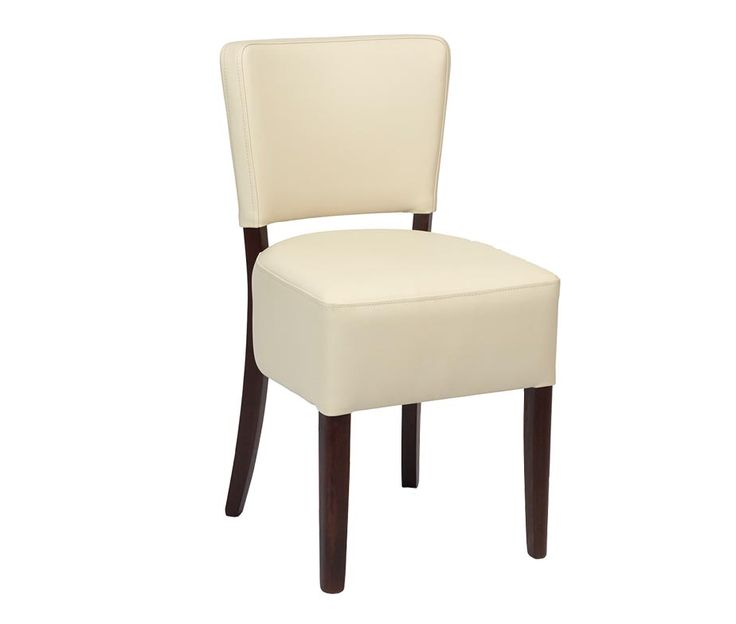 Trent Dining Chair Upholstered In Cream Or Brown Faux Leather