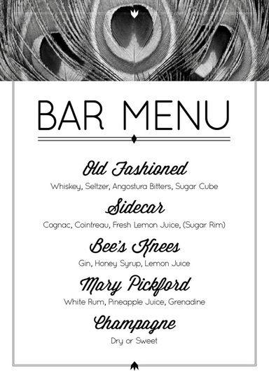 Great Gatsby Party Theme Ideas - Roaring Twenties Party Bar Menu