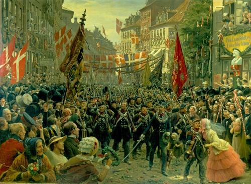 """Soldaternes hjemkomst til København"", painted by Otto Bache, 1894. The Museum of National History, room 60."