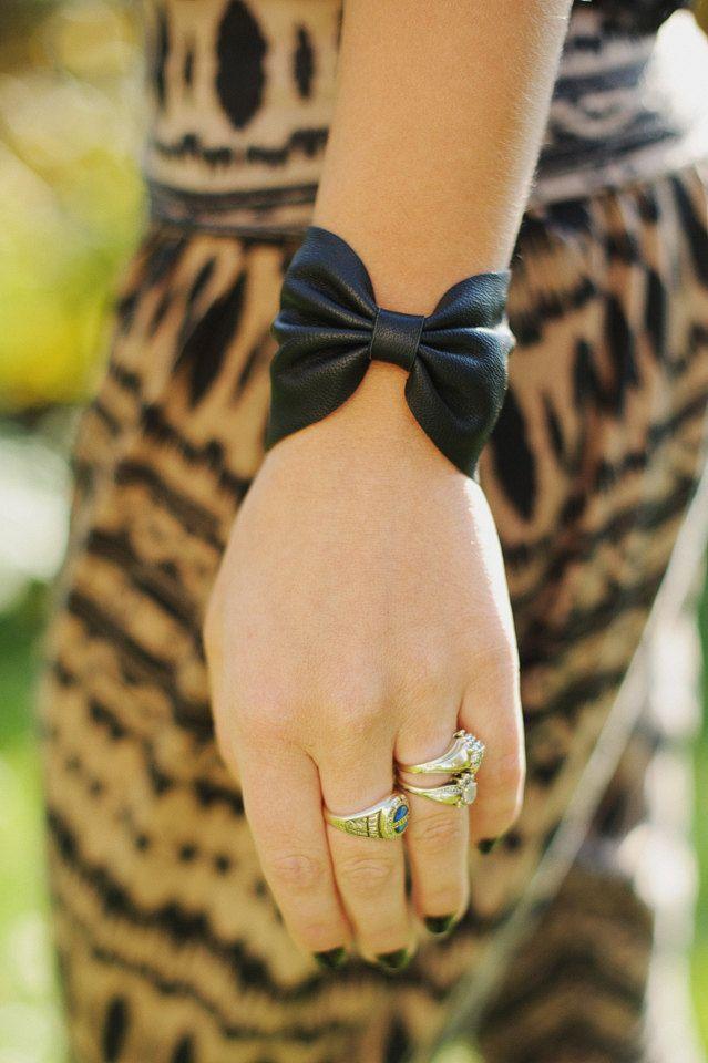 Black Leather Bow Bracelet. $20.00, via Etsy.
