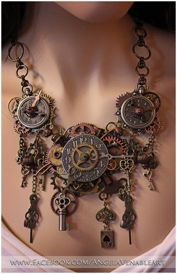 Steampunk necklace steampunk jewelry clock necklace for What is steampunk design