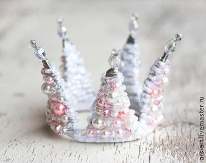 Розовая детская корона. Белая корона для девочки с кристаллами жемчуг. Розовая…