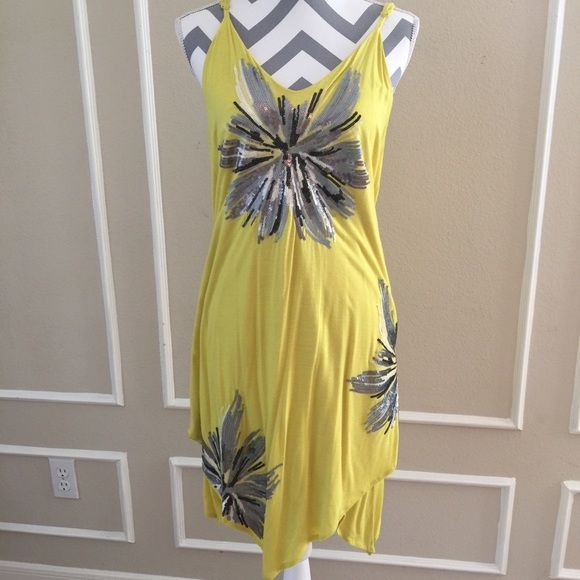 INC International Concepts yellow sequin dress Great little dress for summer with a touch of bling. Size XL . Adjustable straps INC International Concepts Dresses