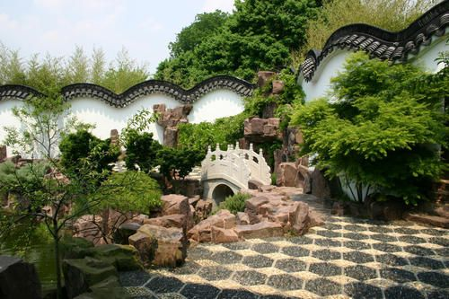 The Chinese Scholars Garden at Snug Harbor Cultural Center, a garden environment featuring eight pavilions, a bamboo forest path, waterfalls, a Koi-filled pond, Chinese calligraphy, was created to represent the inspiration of culture in Ancient China.