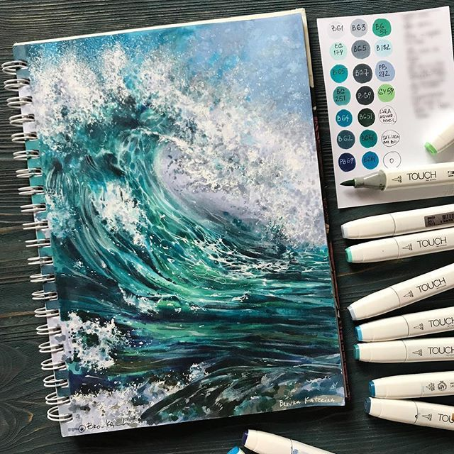 Sea landscape painted with alcohol markers. . Вс…