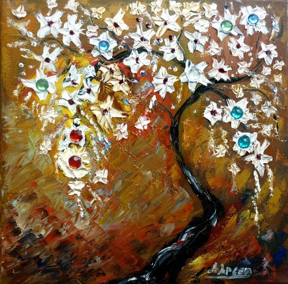 Abstract paintingoil painting flower tree with by artstudioAreti