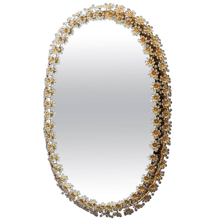 Amazing Illuminated Crystal Glass Mirror by Palwa with Gilded Oval Frame