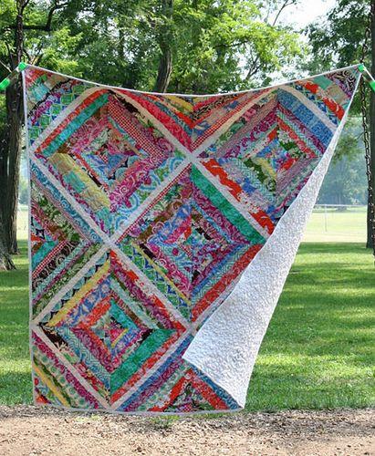 Strip quilt - love the big squares!
