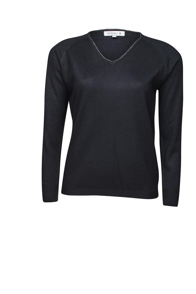 Noni B V Neck Jumper With Lurex Trim $69.95 AUD  Long sleeve V neck light weight jumper with Lurex trim around the neck 97.5% Arcylic 2% Elastane .05% Lurex  Item Code: 048026