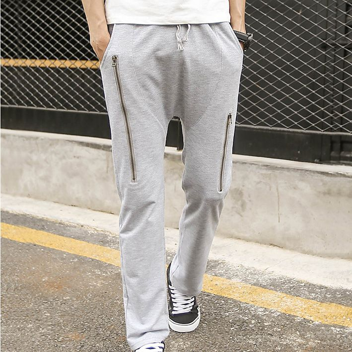 2017 Slim fit Male Harem Pants Men Baggy Drop Crotch  Trousers Zipper  Track Pants Casual Mens   Sweatpants