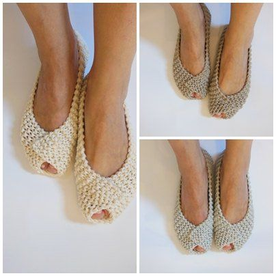 Off Pantofole – Calzature antiscivolo – Ballet White Gray Beige cotone donna flats – scarpe fatte a mano – a maglia pantofole – NenaKnit – confezione regalo