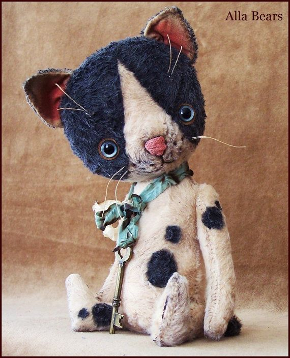 "Alla Bears 8.5"" inch Cat original artist ooak Vintage collectible handmade toy baby art doll boy Whimsical Victorian Antique stuffed decor"