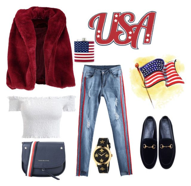 """USA"" by amitlou22 ❤ liked on Polyvore featuring DC Shoes, Boohoo, Gucci, Tommy Hilfiger, GetTheLook, chic, fashionista and USA"