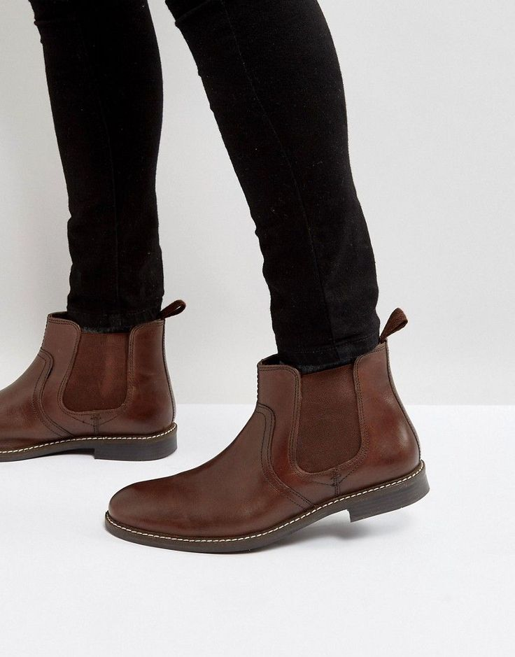 Red Tape Chelsea Boots In Brown Leather - Brown